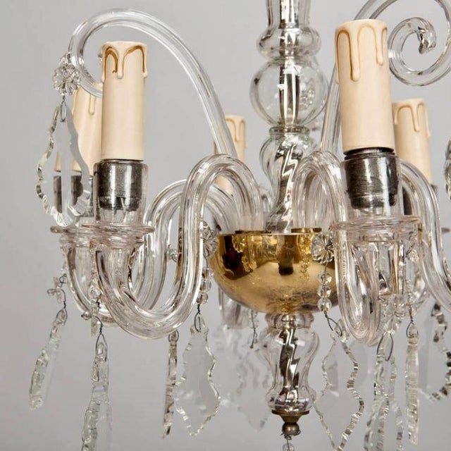 French Tiered All Crystal Six Light Chandelier c.1920 - Image 5 of 9