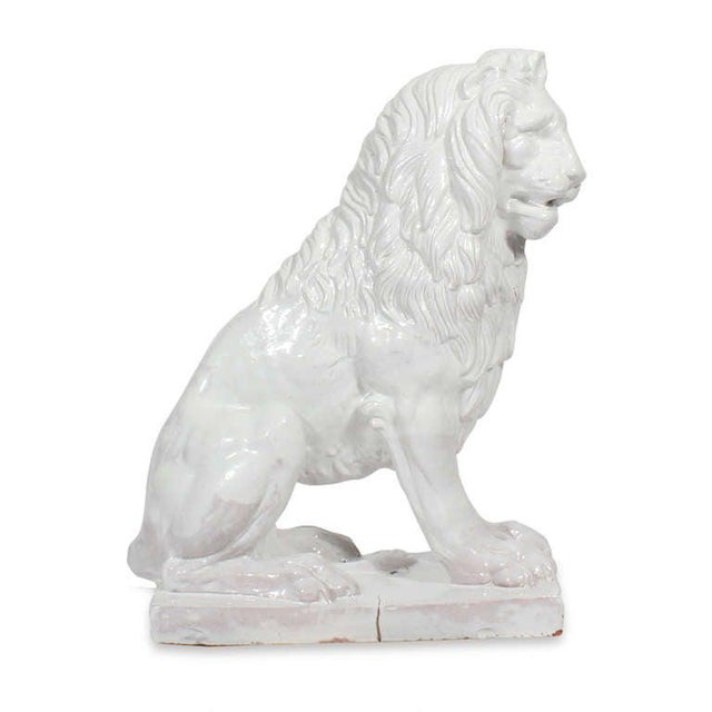 1960s Facing Early to Mid-20th Century Regal, Majolica Lion Figures - A Pair For Sale - Image 5 of 9