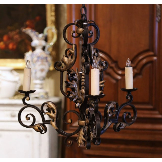 19th Century, French Louis XV Iron Black and Gilt Painted Three-Light Chandelier For Sale - Image 9 of 9