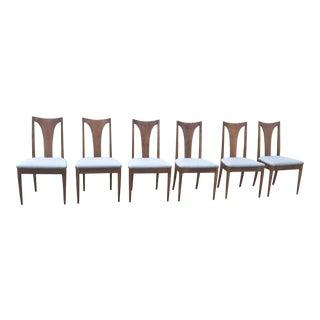 Set of 6 Mid-Century Broyhill Brasilia Danish Splat Back Walnut Dining Room Chairs For Sale