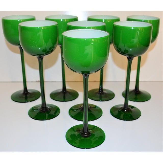 Green Carlo Moretti White Cased Melon Green Stemware - Set of 8 For Sale - Image 8 of 8