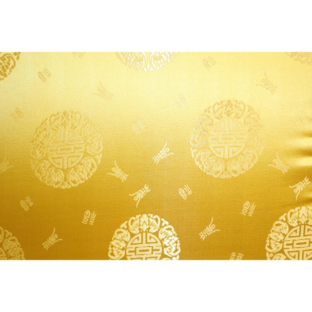 Chinese Oriental Golden Yellow Silk Fabric Rectangular Seat Cushion Pad For Sale - Image 4 of 6
