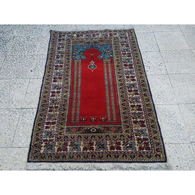 1980s Traditional Oriental Handmade Prayer Carpet, Double Knotted Small Sized Pile Rug, Wall Hanging Floor Covering Rugs, 3' X 4'7'' / 92x139cm For Sale In Dallas - Image 6 of 6
