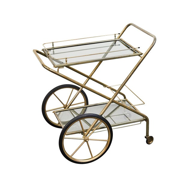 Brass and Glass Bar Cart For Sale In Los Angeles - Image 6 of 6
