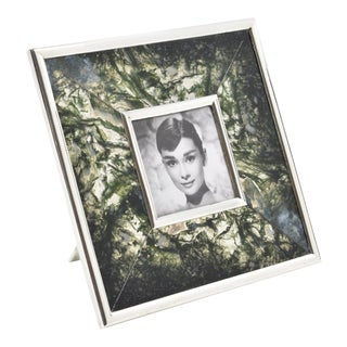 Italian Sterling Silver Agate Stone Picture Frame For Sale