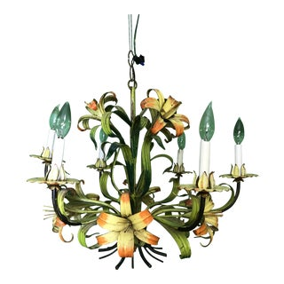 Vintage Italian Hand Painted Tiger Lily Tole Chandelier For Sale