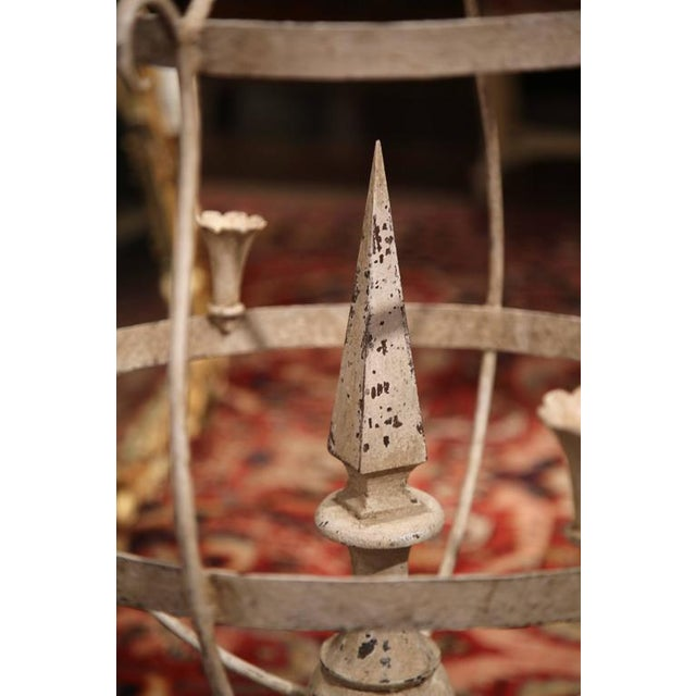 Mid 19th Century French Wood & Iron Painted Girandoles Candleholders - A Pair For Sale - Image 5 of 7