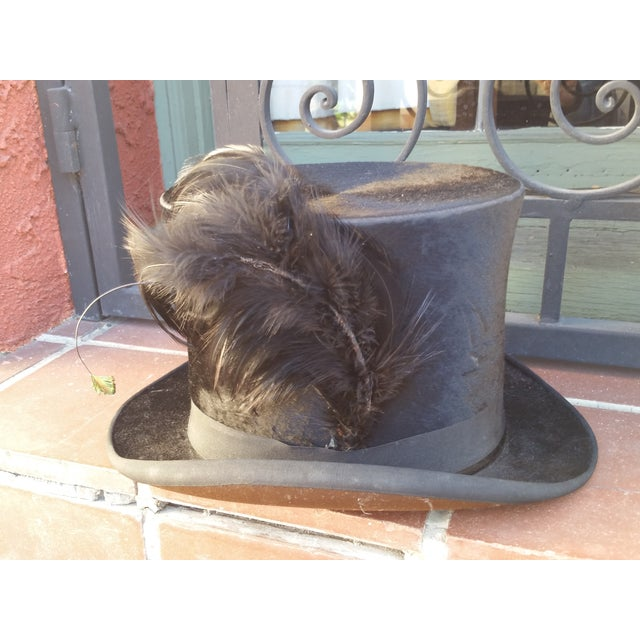 Victorian Beaver Top Hat With Feather - Image 4 of 5
