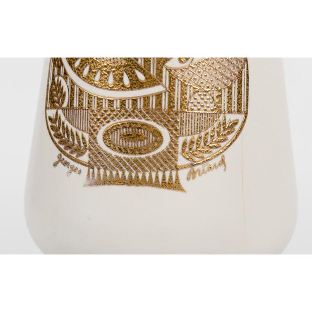 Hollywood Regency Georges Briard Gold & Black Glass Table Lamp For Sale - Image 3 of 6