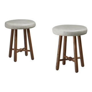 Flemming Teisen Pair of Ash Stools with Leather Seating, Denmark, 1938 For Sale