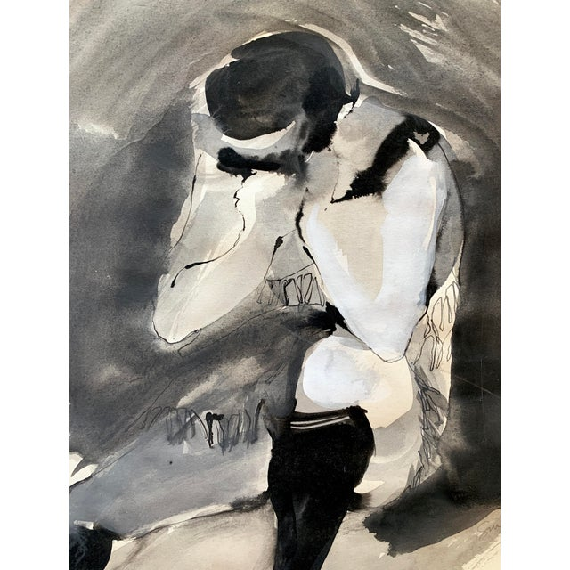 Mid-century female study by Laura Smith. Beautiful watercolor & gouache in shades of black, gray and white. Artist signed.
