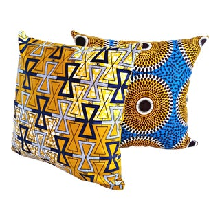 African Print Blue Ripple Fabric Pillow Covers - a Pair For Sale