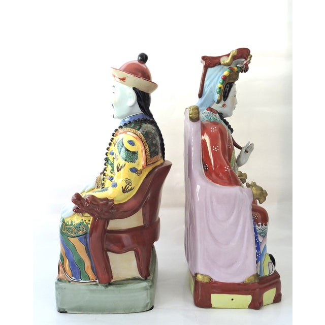 Vintage Chinese Emperor & Empress Seated Figures - Pair - Image 3 of 10