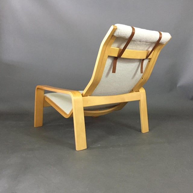 Leather Ilmari Lappalainen Pulkka Lounge Chair for Asko Finland, 1960s For Sale - Image 7 of 9