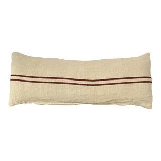 Giant Lumbar Belgian Grain Sack Pillow With 2 Red Stripes For Sale