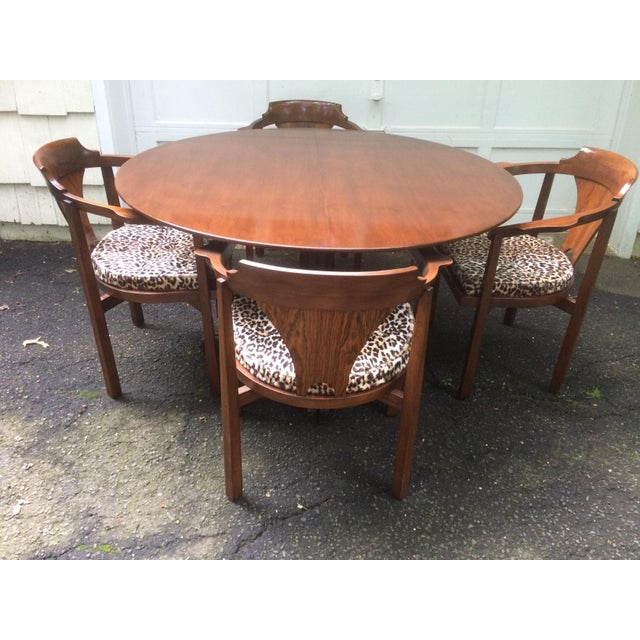 "Rare and very desirable extendable table and 4 ""horseshoe"" chairs designed by Edward Wormley for Dunbar. Exquisite..."