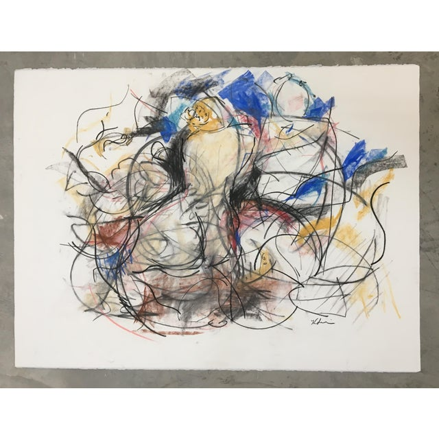 """This mixed media sketch is part of a series of works inspired by the painting """"Venus and Adonis"""" by Titian. The goddess..."""