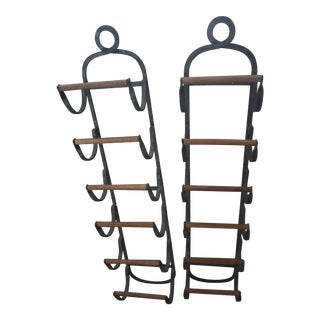 Antique French Style Iron/Wood Wine Racks - a Pair For Sale