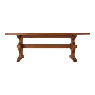 Country French Oak Farmhouse Trestle Dining Table For Sale