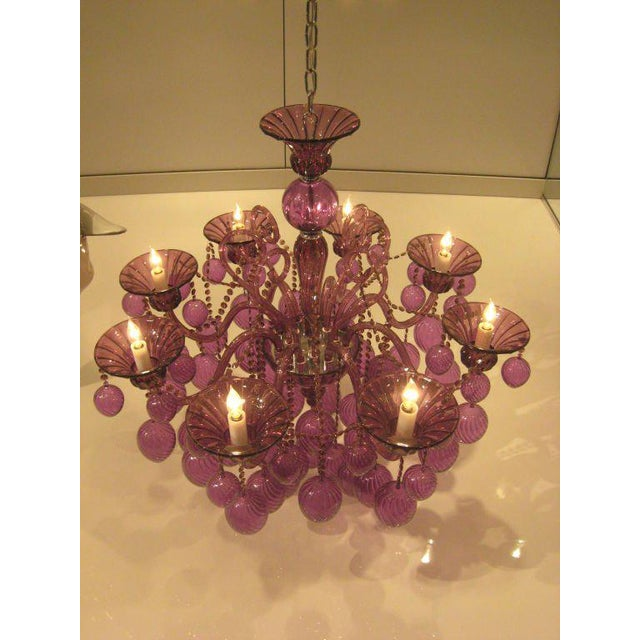 Two Contemporary Handblown Eight Light Venetian Glass Chandeliers In Purple Featuring Decorations