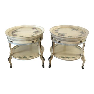 Union National French Style Hand Painted 2-Tier Nightstand/Side Tables - A Pair