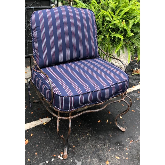Black Rose Tarlow Wrought Iron Outdoor Lounge Chairs - a Pair For Sale - Image 8 of 10