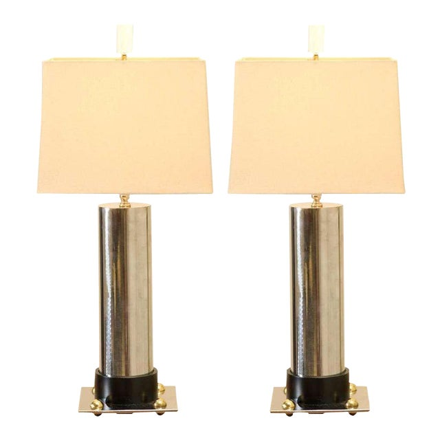 Handsome Pair of Modern Cylinder Lamps in Nickel and Brass For Sale
