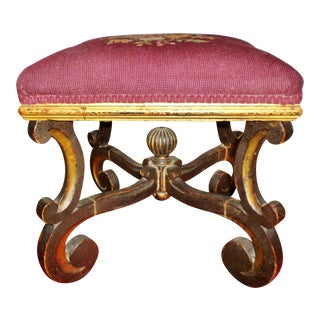 1700s Antique Baroque Footstool For Sale