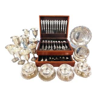 Grande Baroque Wallace Sterling Silver Flatware 103 Pc Set + Hollowware Plates - 139 Pc. Set For Sale