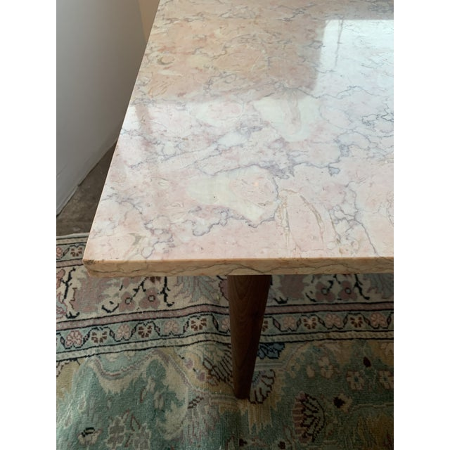 Mid-Century Modern Pink Marble Coffee Table For Sale - Image 10 of 12