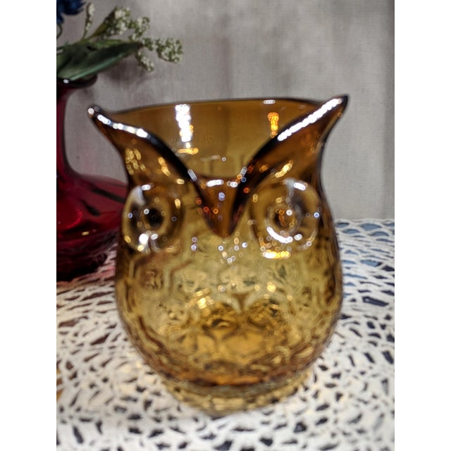 Blown Amber Glass Owl Shaped Candle Holder Vase Murano. A beautiful dark amber 4x4 inch owl shaped, honeycomb.Please see...