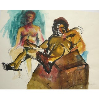 """Boyfriends"" Ink, Pastel & Watercolor Drawing"