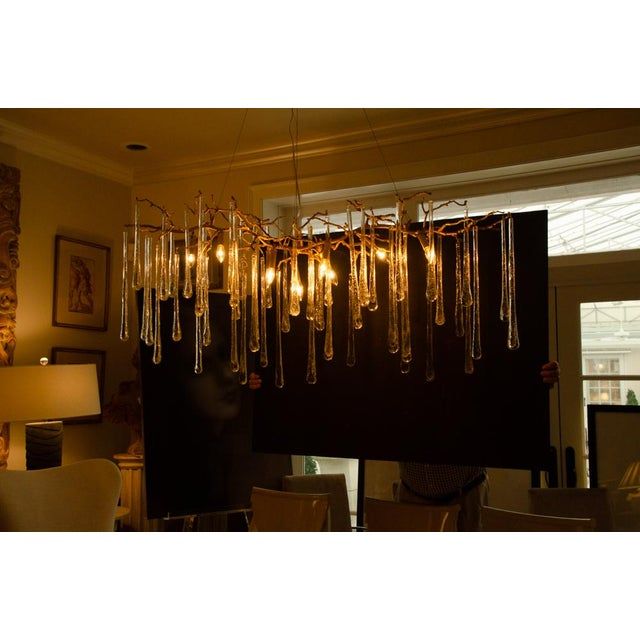 2010s Gilt Metal Chandelier With Crystal Drops For Sale - Image 5 of 10