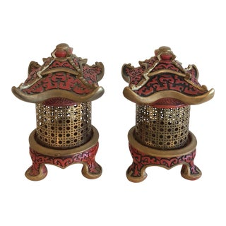 Vintage Pagoda Table Lamps Lanterns - a Pair For Sale