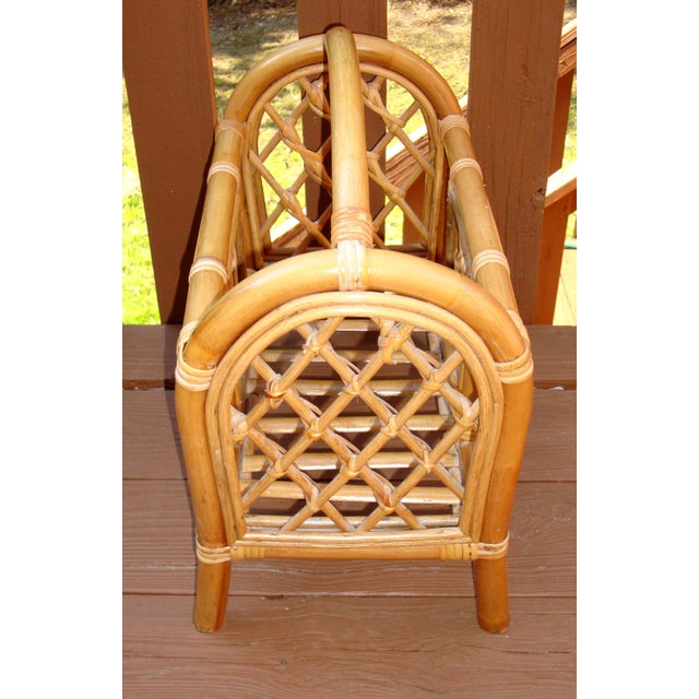 Boho Chic Mid-Century Bamboo Bentwood Rattan Magazine Rack For Sale - Image 3 of 7