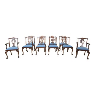 Set of 10 Hickory Ball & Claw Mahogany Dining Room Chairs For Sale