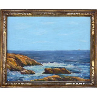 "1940s ""Summer Seas Asilomar California"" Landscape Oil Painting, Framed For Sale"