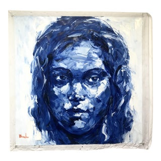Blue Face Oil on Canvas Painting