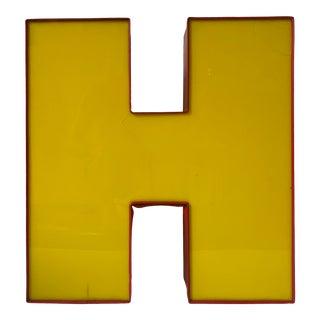 1980s Vintage H Letter Sign Light For Sale