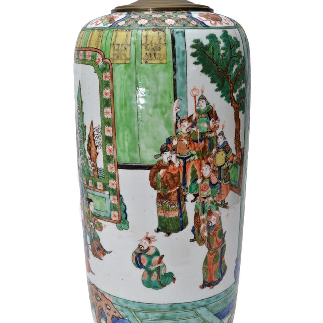 Signed Hand-Painted Chinese Porcelain Table Lamp with Original Shade For Sale - Image 9 of 9