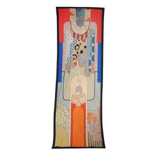 1970s Vintage Art Deco Handmade 10 Feet Long Tapestry