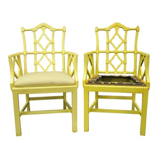 Chinoiserie Hollywood Regency Yellow Fretwork Armchairs - a Pair For Sale