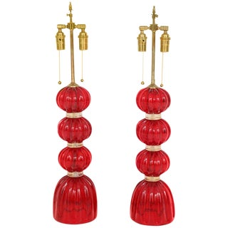 1970s Red Murano Glass Lamps - a Pair For Sale