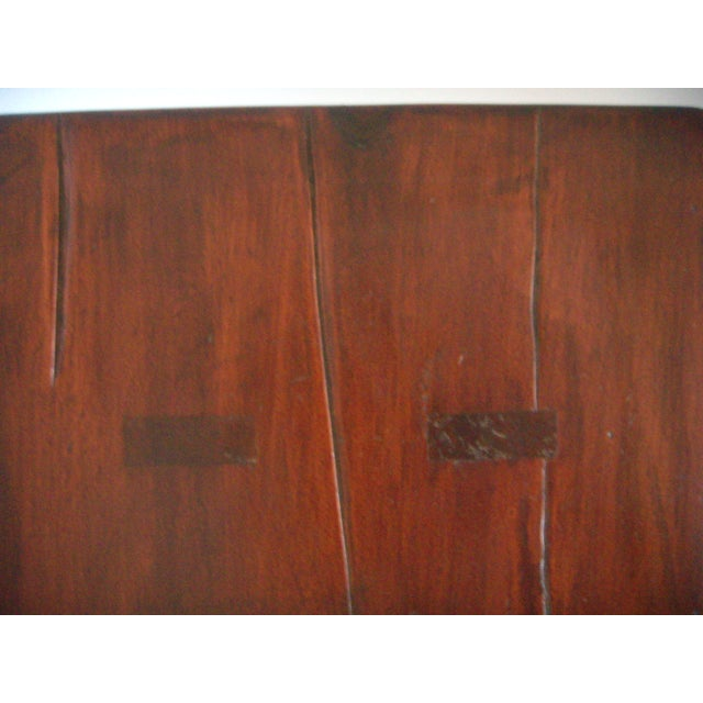 Mid 20th. Century Vintage American Two Seat Brown Pine Wood Bench For Sale In Tampa - Image 6 of 7