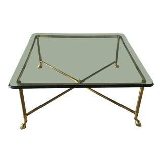 Late 20th Century Vintage LaBarge Brass Hoof Foot Coffee Table