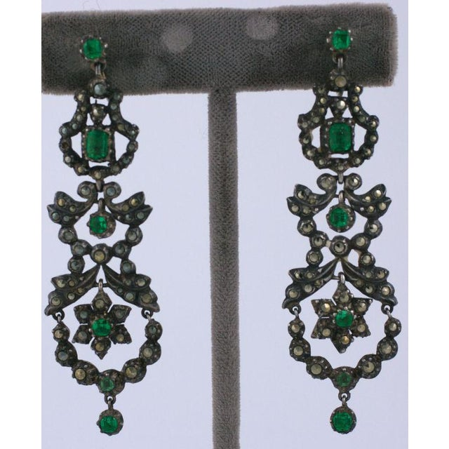 Edwardian Edwardian Marcasite and Paste Set Earrings For Sale - Image 3 of 4