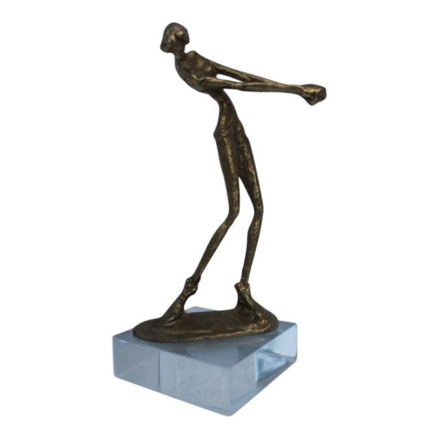 Brutalist Giacometti Style Decorative Brass Sculpture . For Sale