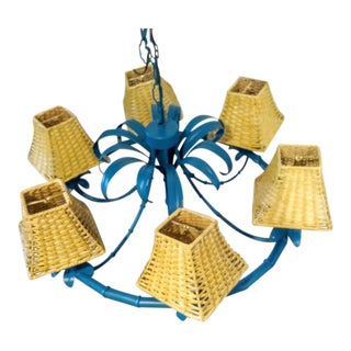 Palm Beach Regency Faux Bamboo Teal Blue 5 Light Wicker Shade Palm Frond Chandelier For Sale