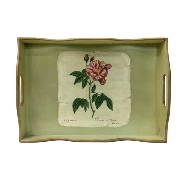1980s Vintage Rectangular Wooden Tray For Sale - Image 5 of 5