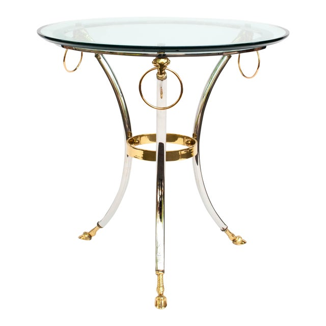 Brass, Chrome and Glass Rams Head Hoof Round Side Table For Sale